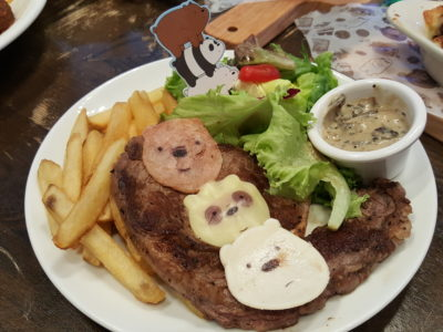 The Soup Spoon Union x Cartoon Network Cafe At Punggol Waterway Point Featuring Powerpuff Girls, Ben 10, Adventure Time and We Bare Bears - We Bare Bear Agnus Beef Ribeye Steak ($23.80)