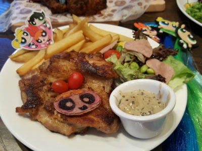 The Soup Spoon Union x Cartoon Network Cafe At Punggol Waterway Point Featuring Powerpuff Girls, Ben 10, Adventure Time and We Bare Bears - Blossom's Grilled Chicken Steak ($14.80)