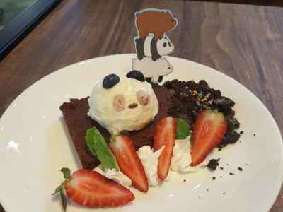 The Soup Spoon Union x Cartoon Network Cafe At Punggol Waterway Point Featuring Powerpuff Girls, Ben 10, Adventure Time and We Bare Bears - Pan-Pan's Brownie with Ice Cream ($12.90)