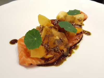 RAS Epicurean Star Award 2017 Cum Dining Promotion From Winning Restaurants - Chefs Table, Salmon Trout with Pickled Pumpkin, Pumpkin Seed Oil, Nostustium Leaves