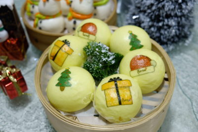 Yum Cha Christmas Special Dim Sum Treat At Treggannu Street - Salted Egg Custard Bun *Christmas Exclusive ($4.50++ for set of 3)