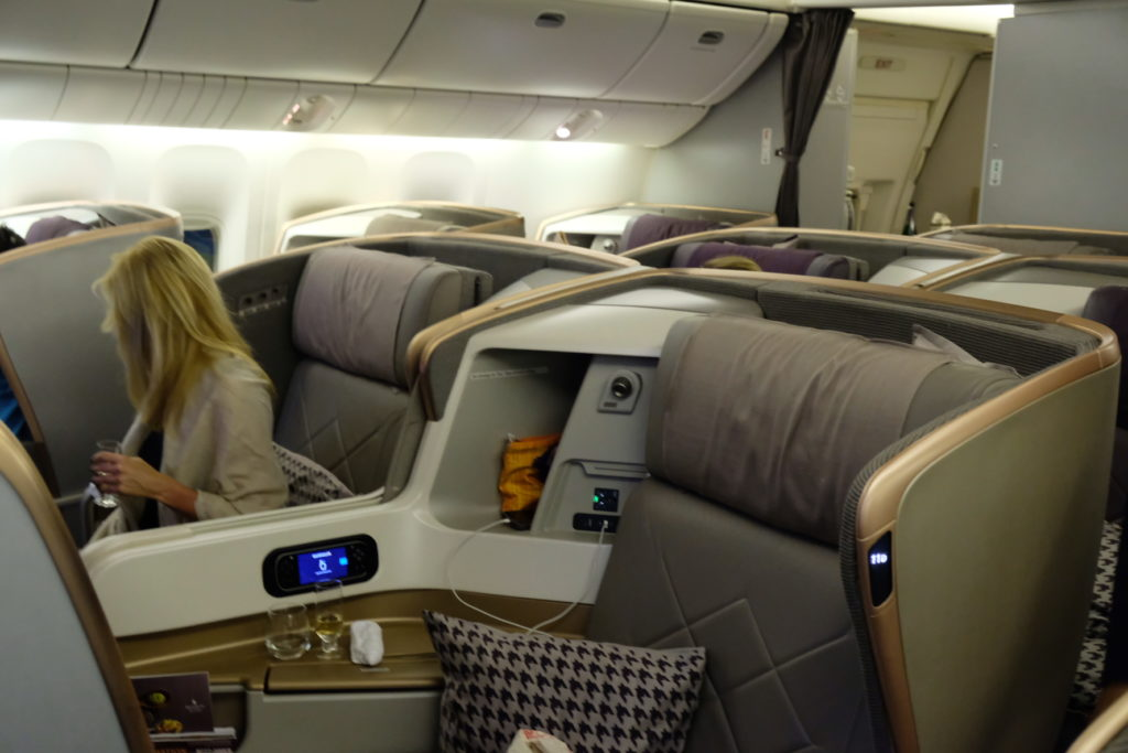 Flying Singapore Airlines Business Class SQ336 From Singapore To Paris - Business Class section, first half