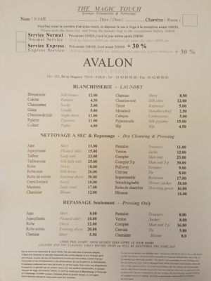 Hotel Avalon Paris, A Cosy Hotel Which Is A Stone Throw To Gare Du Nord - Laundry Service