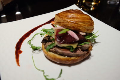 Le Compostelle, An Outstanding Restaurant Which Is A Stone Throw From The Grand Place - Flaky pastry parcel with pigeon fillet, balsamic and caramelised onions, beetroot (€13)