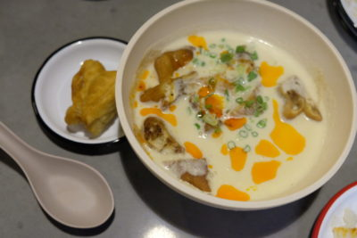 alittle tashi Offering Communal Dinning Dishes With Array Of Sauces At Tyrwhitt Road - Hot Salty Soya Milk ($9)