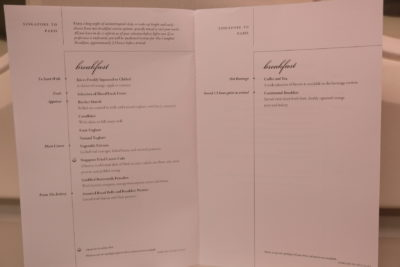 Business Class On A380 Singapore Airlines, SQ336 From Singapore To Paris - Breakfast Menu