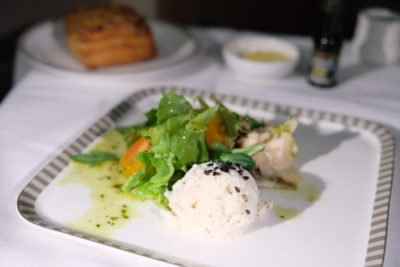 Business Class On A380 Singapore Airlines, SQ336 From Singapore To Paris - Marinated Crab Meat Salad