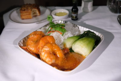 Business Class On A380 Singapore Airlines, SQ336 From Singapore To Paris - Baked King Prawn