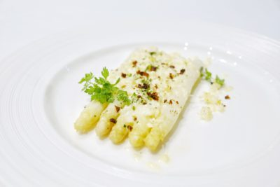 Pool Grill Presents The Prized Spring Delicacy, The White Asparagus, Singapore Marriott Tang Plaza Hotel - Mimosa Style Gratinated White Asparagus with Manchego Cheese & Chorizo Migas ($24++ per portion)