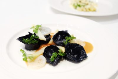Pool Grill Presents The Prized Spring Delicacy, The White Asparagus, Singapore Marriott Tang Plaza Hotel - Squid Ink and Scallop Ravioli with White Asparagus & Tomato Butter ($38++ per portion)