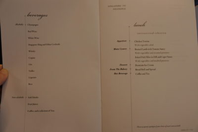 Flying Singapore Airlines Premium Economy SQ833 From Shanghai To Singapore - Lunch Menu for Singapore to Shanghai and Beverages