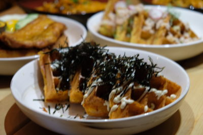 Waffelicious And Spicy Moment At Montana Singapore Located At POMO - Seafood Kimichi Waffle ($15.80)