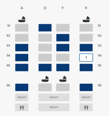 Business Class On A380 Singapore Airlines, SQ336 From Singapore To Paris - Seating Plan of Business Class A380 Rear Section
