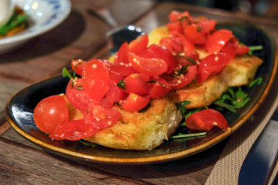 Latteria Mozzarella Bar At Duxton Hill, Outstanding Italian Food - Bruschetta Cherry Tomato, Garlic & Oregano ($18)