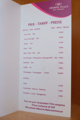 Crowne Plaza Lille - Euralille, A Business Hotel Directly Opposite Euralille Train Station - Mini Bar Price List