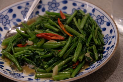 Un-Yang-Kor-Dai Dishing Delicious On Point Authentic Thai Food At South Bridge Road - Stir-Fried Morning Glory with Chilli and Garlic ($11)