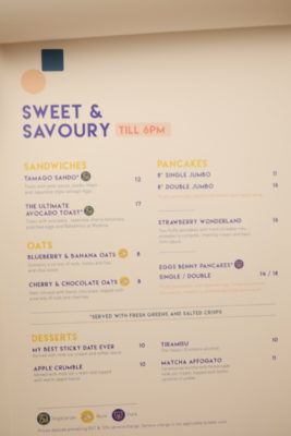 Grids & Circles, Cafe With Workshop In A Conservatory Shophouse Along South Bridge Road - Sweet & Savoury Menu
