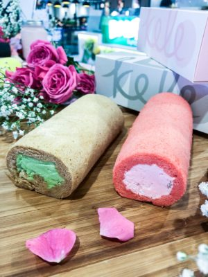 Kele Roll Cake Is Now At VivoCity Basement Two - Avocado Macadamia Nut (S$ 12.90) and Romantic Rose Cream Cheese (S$ 12.90)