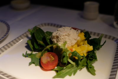 Business Class On SQ826, Flying Singapore Airlines To Shanghai - Salad of Colossal Crab