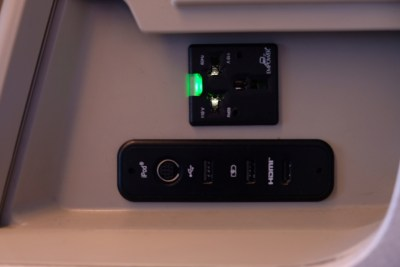 Business Class On SQ826, Flying Singapore Airlines To Shanghai - Various plugs