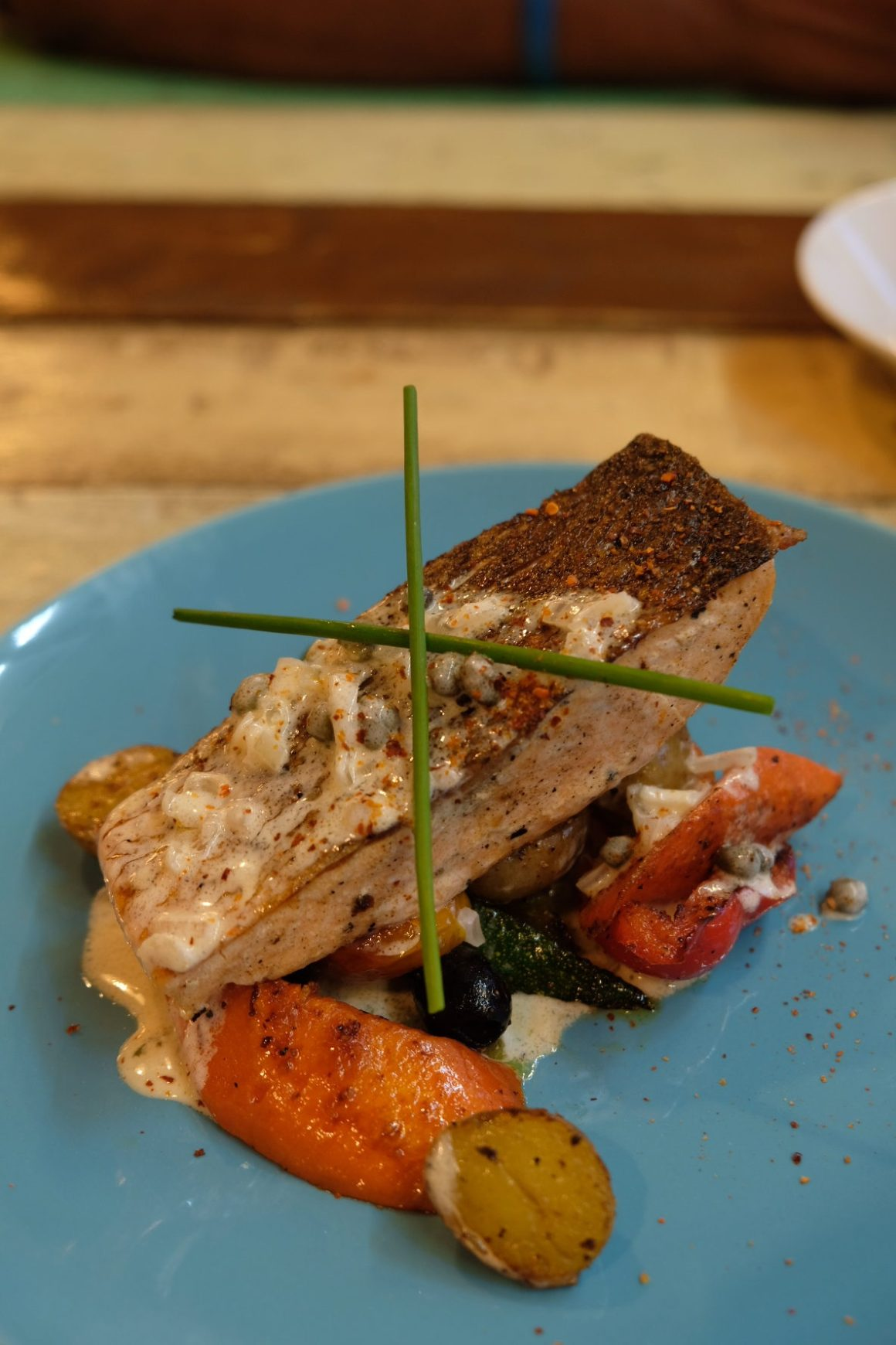 Thyme At Aliwal, An Additional Option to Kampong Glam - Pan-seared Norwegian Salmon with Lemon Butter Sauce ($22)