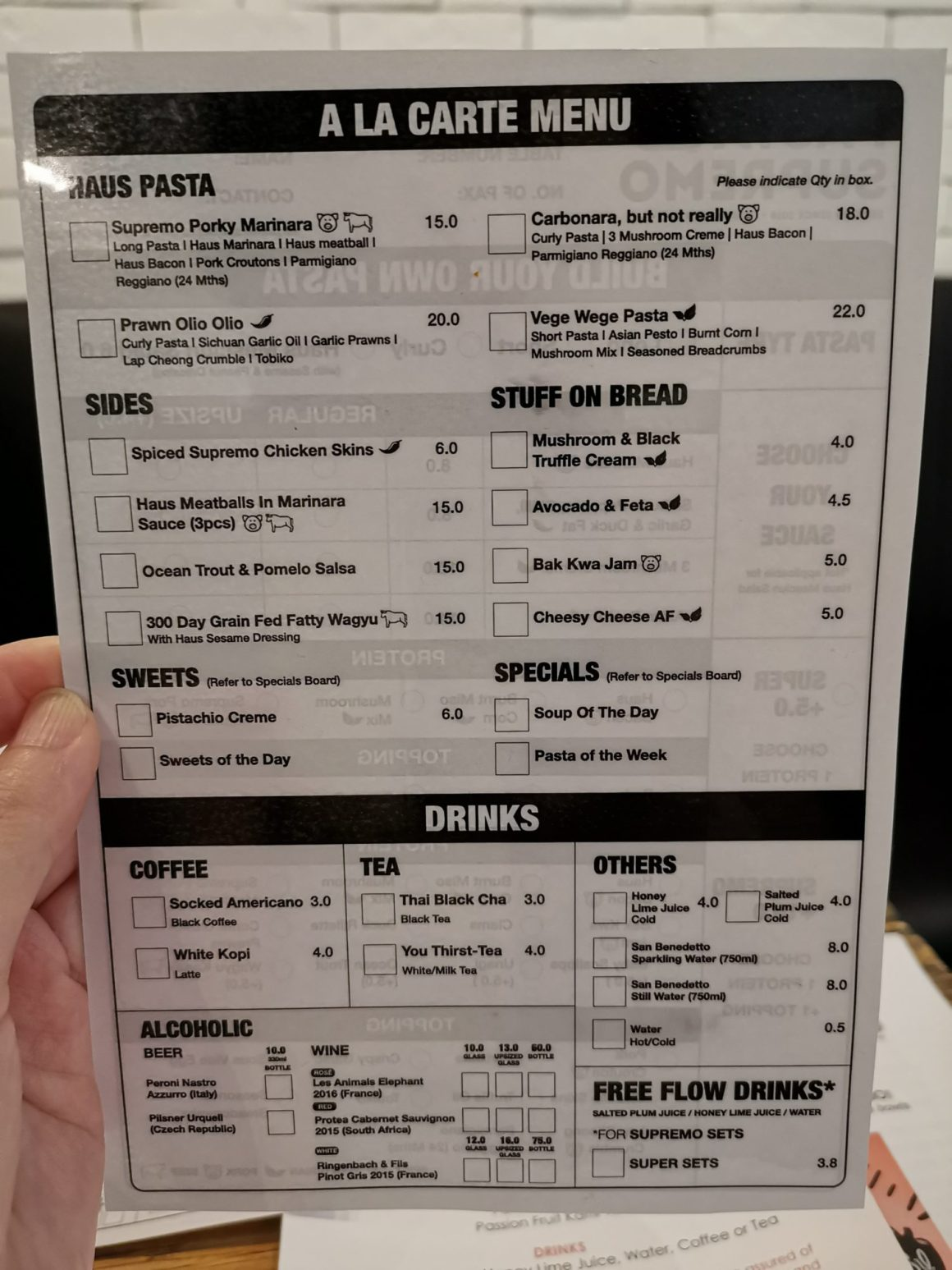 Pasta Supremo By Folks Behind Salted Plum At Suntec City - Ala Carte Menu
