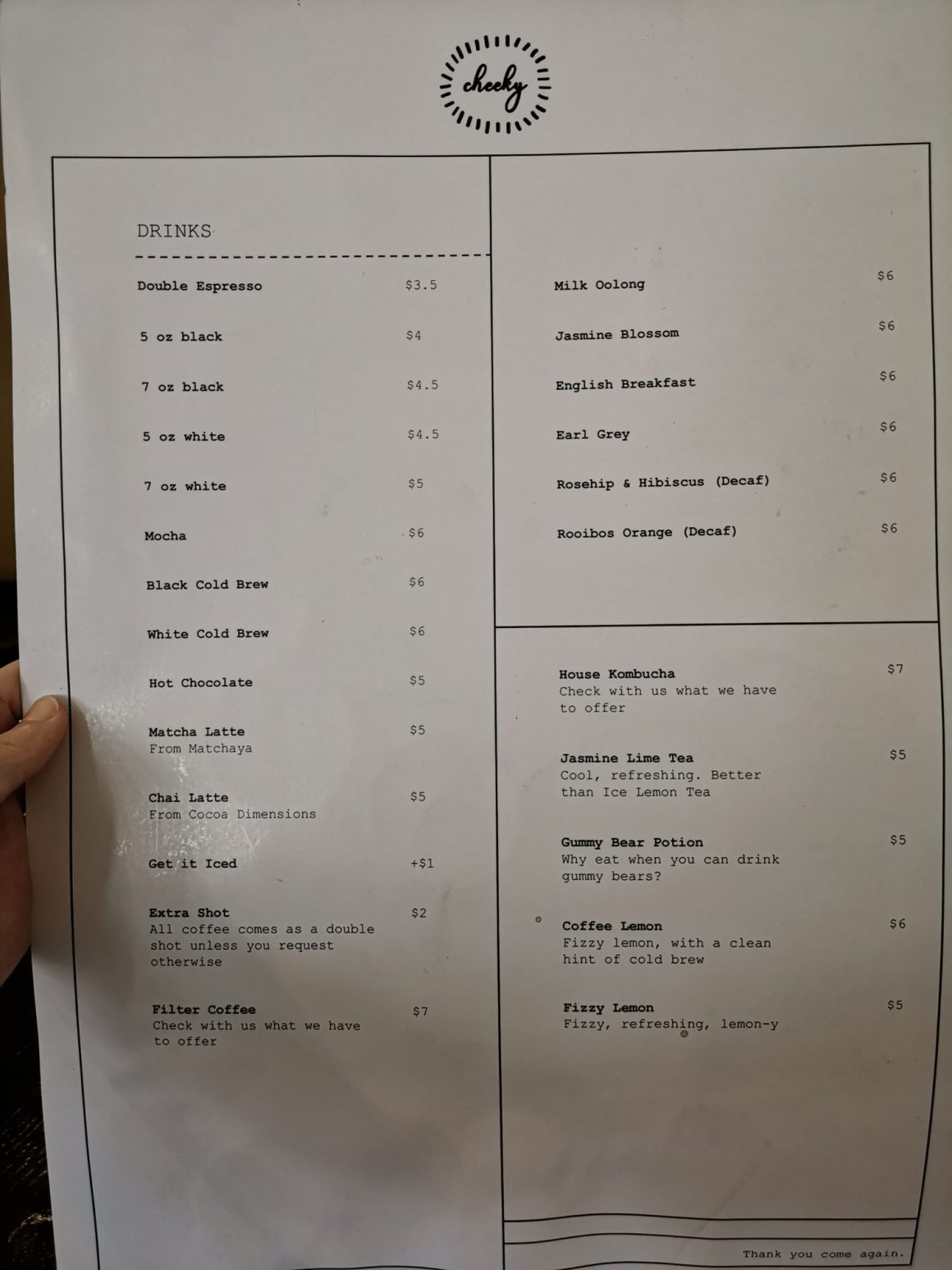 Cheeky All Day At Neil Road - Drink Menu