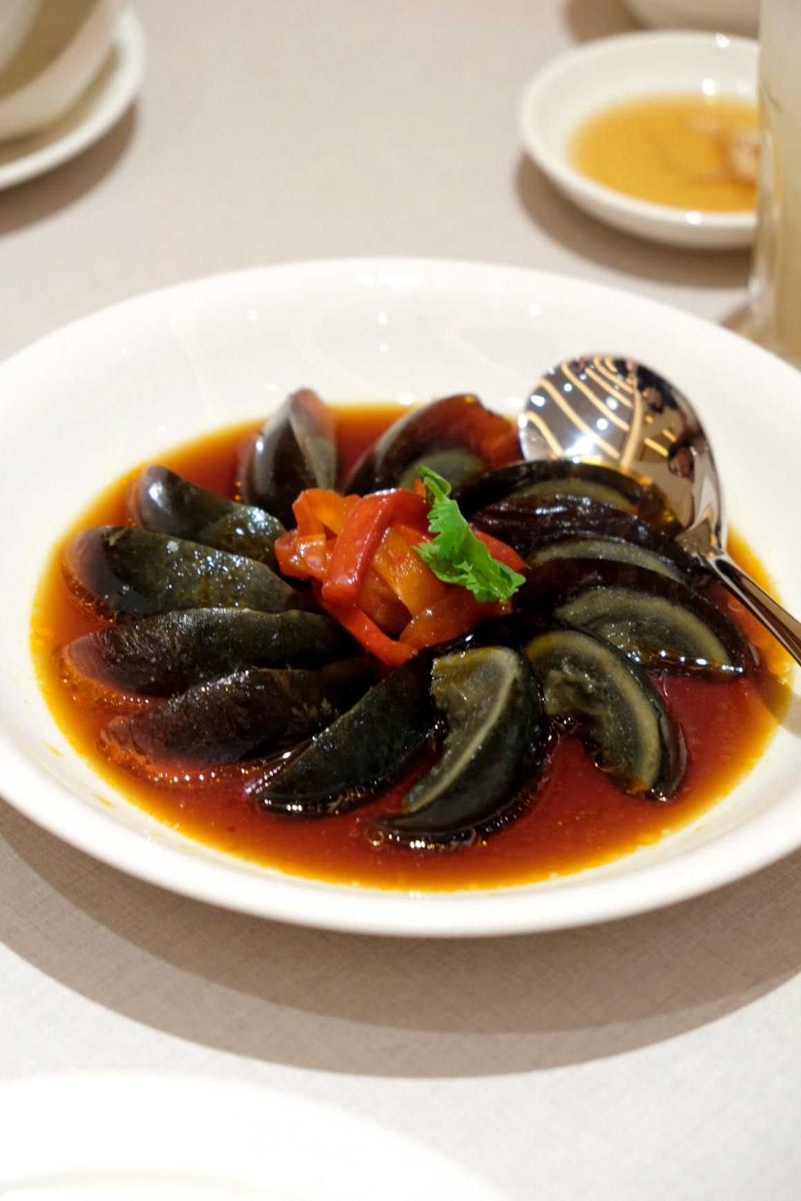 Century Egg with Vinaigrette and Chilli Oil
