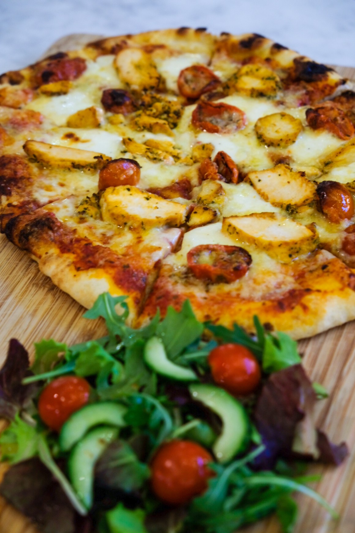 M&S Cafe New Menu Items - Wood Fired Chicken & Mozzarella Pizza ($24)