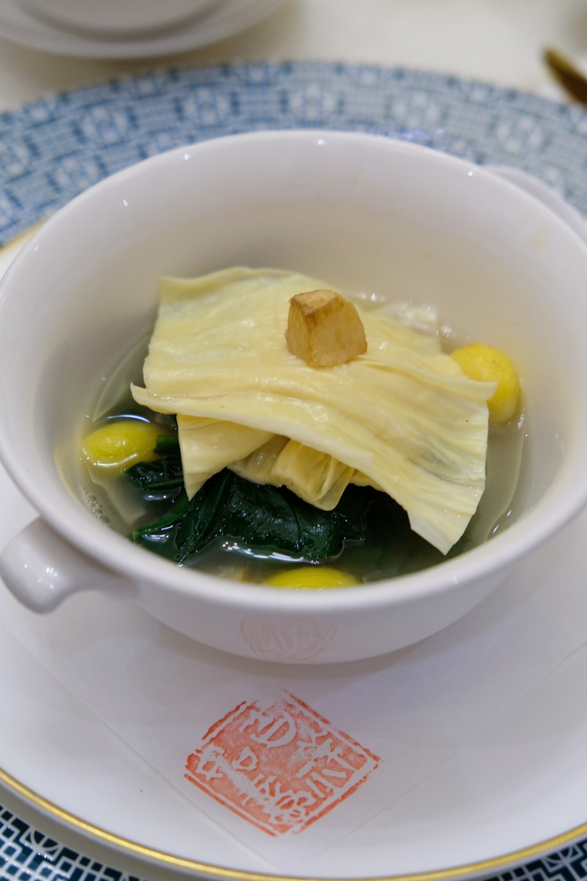Crystal Jade Palace Brand New Menu And Look - Poached seasonal vegetable with fresh beancurd skin and gingko nuts in superior broth ($26)