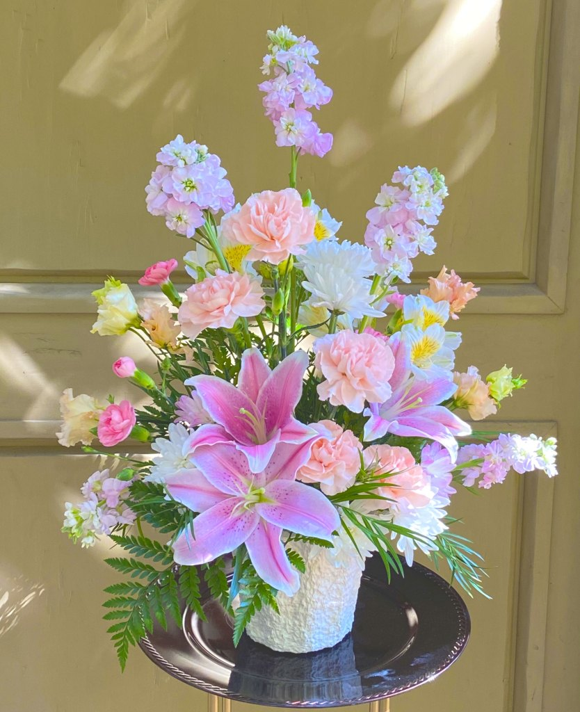 Classic Pink Peach and White Sympathy Arrangement