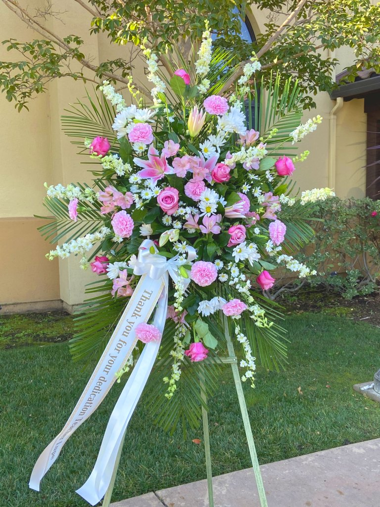 Pink and White Standing Spray with Custom Banner