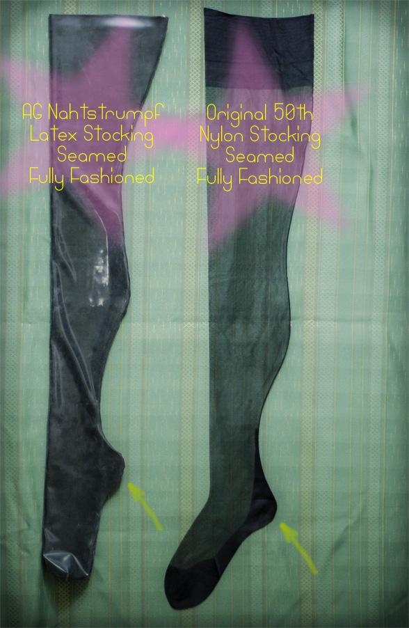 AG Nahtstrumpf latex stockings vs real seamed nylons