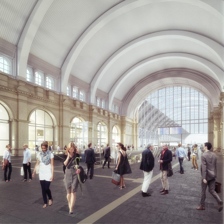Visualisierung: Neugestaltete Empfangshalle Frankfurt am Main Hauptbahnhof mit Blickrichtung zum Querbahnsteig. © Deutsche Bahn AG