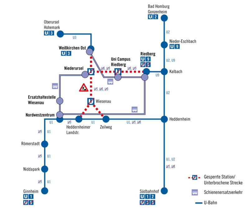 Liniennetz während der Baumaßnahme von 4. bis 14. Juni 2016. © VGF