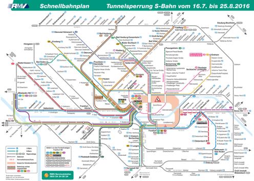 RMV-Schienennetzplan während der Sperrung der S-Bahn-Stammstrecke vom 16. Juli bis 25. August 2016. © Rhein-Main-Verkehrsverbund