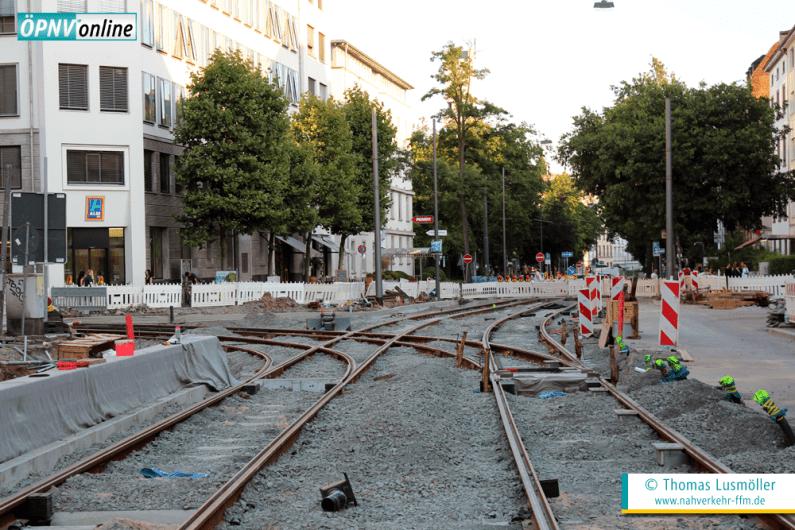 Stand der Bauarbeiten im Kreuzungbereich Eckenheimer Landstraße/Glauburgstraße am 19. Juli 2016.
