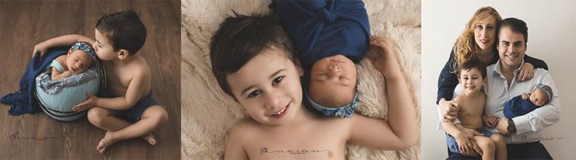 Fotografía newborn con hermanitos en Valencia
