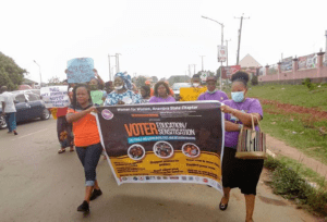 Women in Anambra protesting against delay electoral process for 2021 governorship election.