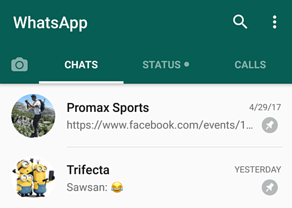 pin chats in new WhatsApp beta for Android