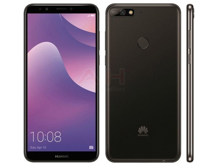 Huawei Y7 (2018) press renders leak, shows off an 18:9 screen, fingerprint sensor and more
