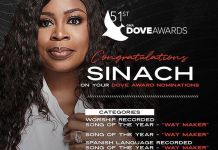 Sinach Bags Multiple Award Nominations at the 2020 Dove Awards