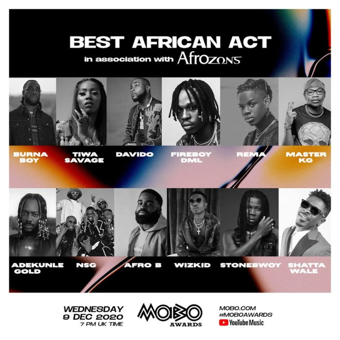 Wizkid Tiwa Savage Others Nominated For The 'Best African Act' At The 2020 MOBO Awards