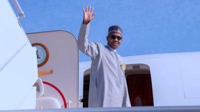 President Buhari in a Plane