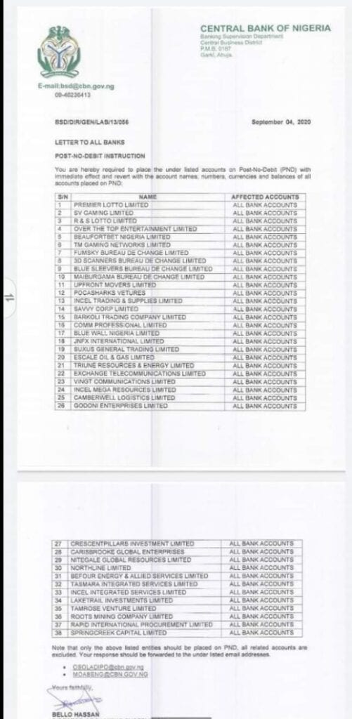 Check The Full List Of 38 Companies Bank Accounts Frozen By Cbn Nigeria Business Information