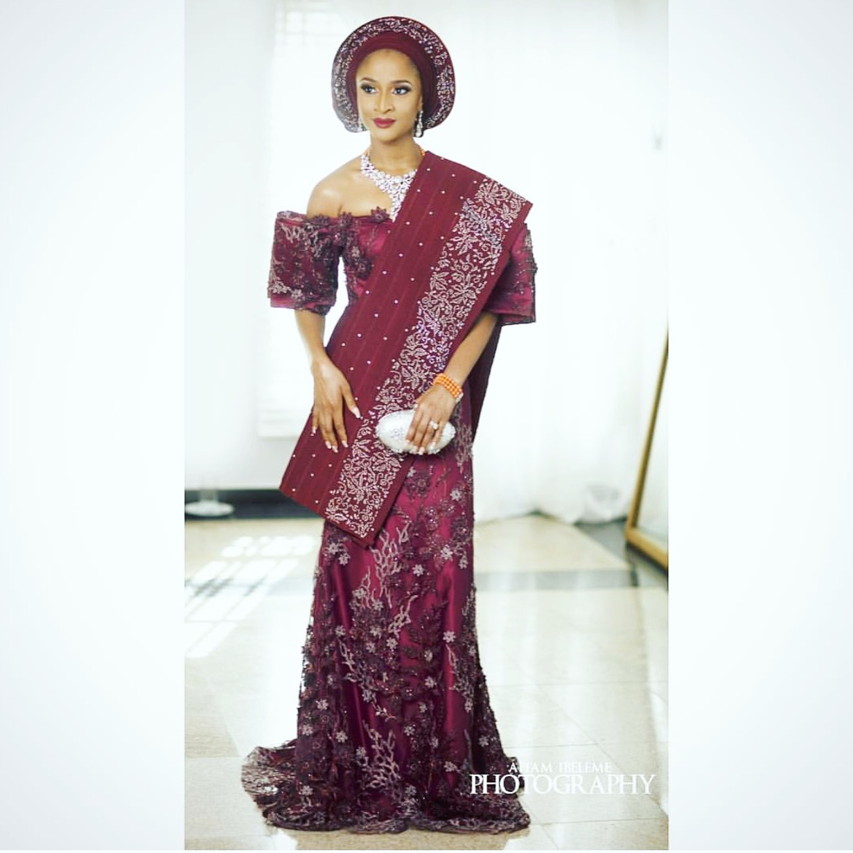 Full Photo From Adesua Etomi's Marriage Introduction Outfit (Photos)