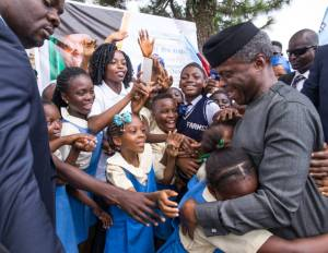 Wow! See Osinbajo Mobbed By School Children In Calabar (Pictures)