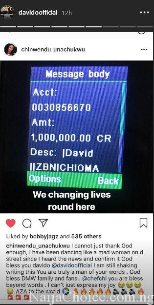 """Davido & Chioma Gift A Fan #1 Million For His New Song """"AZA"""", Promise Another Giveaway"""