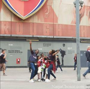 Singer, Timi Dakolo Spotted At Arsenal's Emirates Stadium With Wife And Kids (Photos)