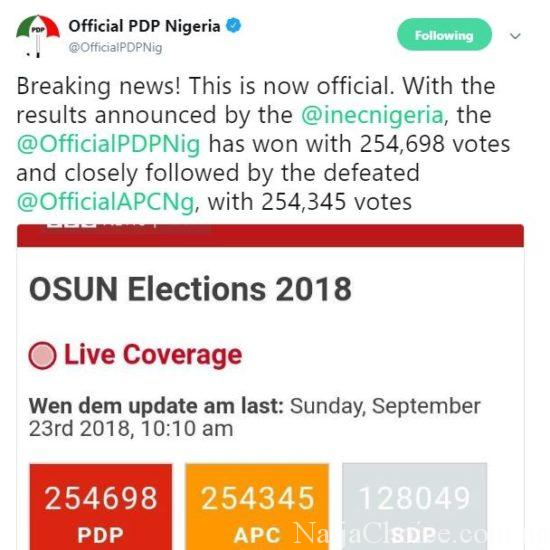 Breaking News! PDP Claims Victory In The 2018 Osun Elections